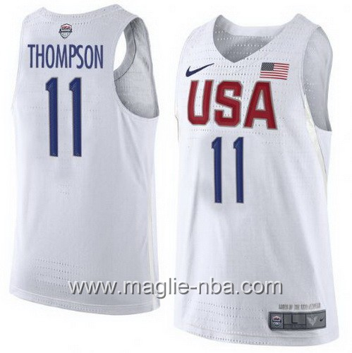Maglie Basket USA Clay Thompson #11 USA Olimpiadi 2016 Bianco