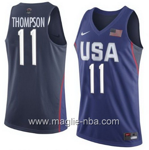 Maglie Basket USA Clay Thompson #11 USA Olimpiadi 2016 Blu