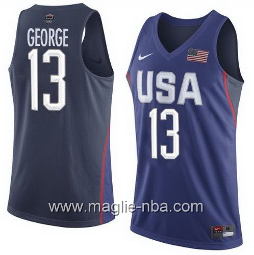 Maglie Basket USA Paul George #13 USA Olimpiadi 2016 Blu