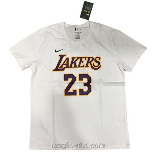 Maglie manica corta Los Angeles Lakers #23 LeBron James bianco