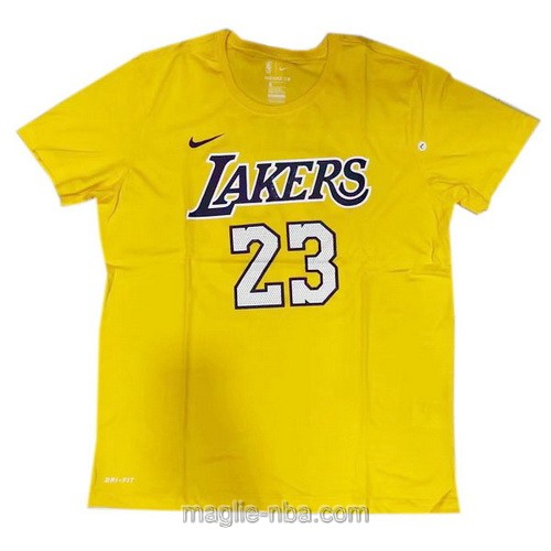 Maglie manica corta Los Angeles Lakers #23 LeBron James giallo