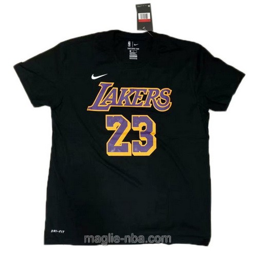 Maglie manica corta Los Angeles Lakers #23 LeBron James nero