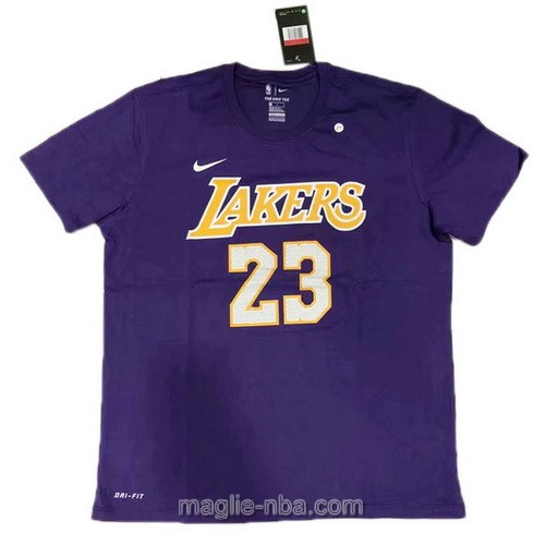 Maglie manica corta Los Angeles Lakers #23 LeBron James porpora
