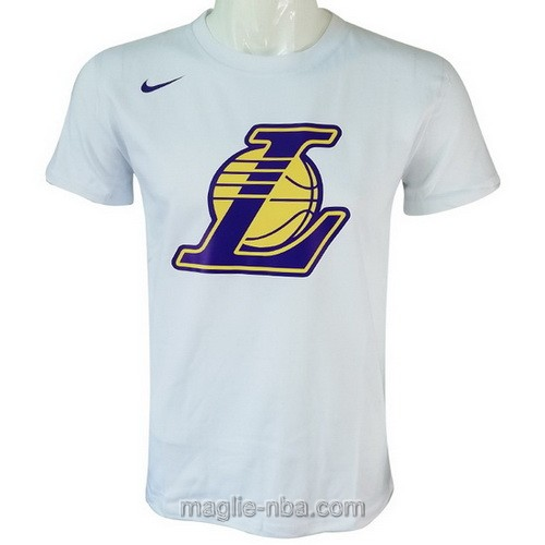 Maglie manica corta Los Angeles Lakers bianco