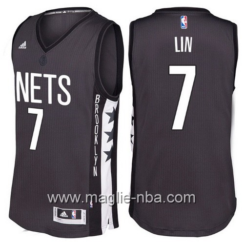Maglie nba 2016 2017 Brooklyn Nets Jeremy Lin #7 nera