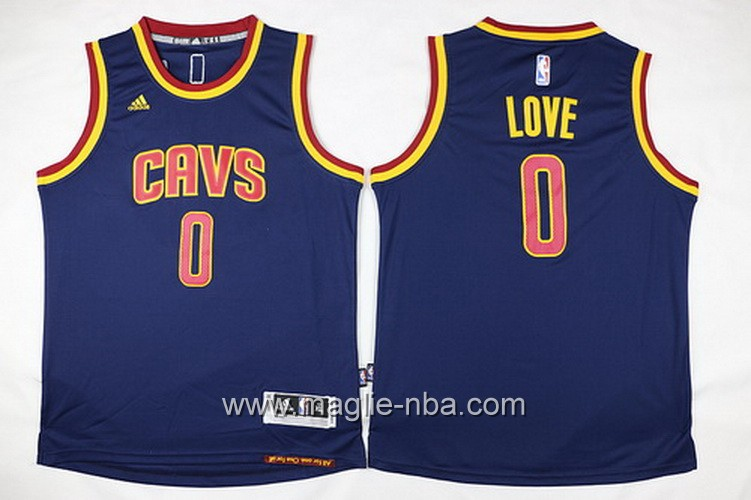 Maglie nba 2016 bambino Cleveland Cavaliers Kevin Love #0 blu marino
