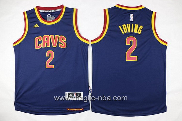 Maglie nba 2016 bambino Cleveland Cavaliers Kyrie Irving #2 blu marino