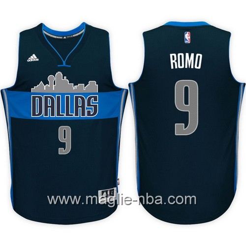 Maglie nba 2017 Tony Romo #9 blu marino Dallas Mavericks