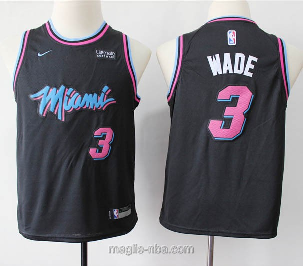 Maglie nba bambino City Edition Nike Miami Heat #3 Dwyane Wade nero