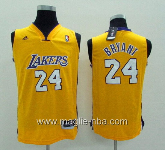 Maglie nba bambino Los Angeles Lakers Kobe Bryant #24 giallo