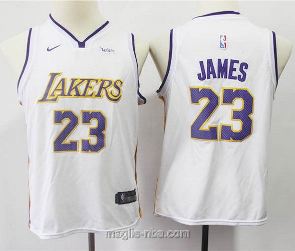 Maglie nba bambino Los Angeles Lakers LeBron James #23 bianco