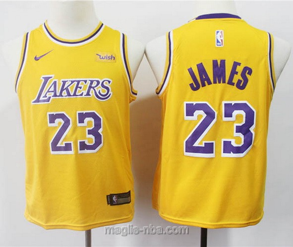 Maglie nba bambino Los Angeles Lakers LeBron James #23 giallo