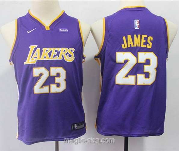 Maglie nba bambino Los Angeles Lakers LeBron James #23 porpora