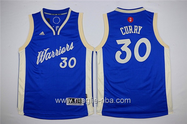 Maglie nba bambino Natale Golden State Warriors Stephen Curry #30 blu