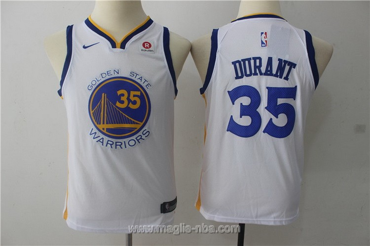 Maglie nba bambino Nike Golden State Warriors Kevin Durant #35 bianco