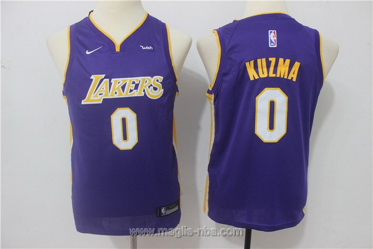 Maglie nba bambino Nike Los Angeles Lakers Kyle Kuzma #0 porpora