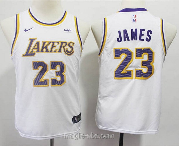 Maglie nba bambino Nike Los Angeles Lakers LeBron James #23 bianco