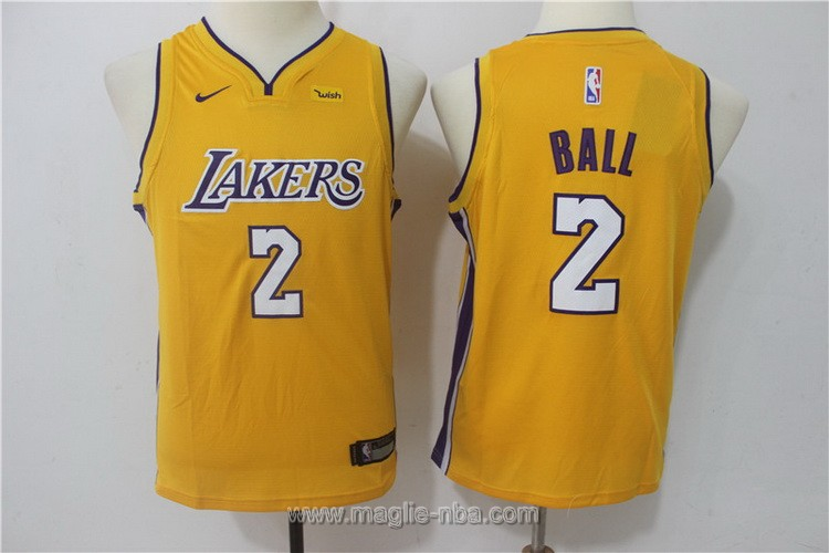 Maglie nba bambino Nike Los Angeles Lakers Lonzo Ball #2 giallo