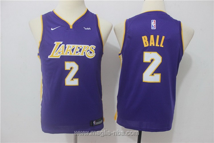 Maglie nba bambino Nike Los Angeles Lakers Lonzo Ball #2 porpora