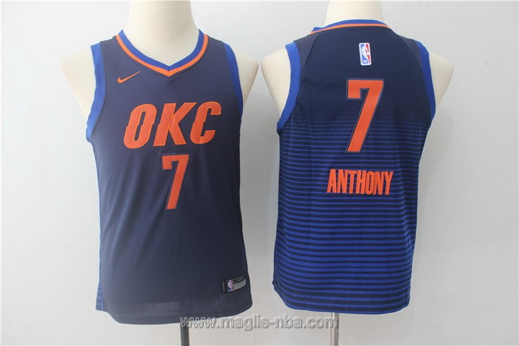 Maglie nba bambino Nike Oklahoma City Thunder Carmelo Anthony #7 blu scuro