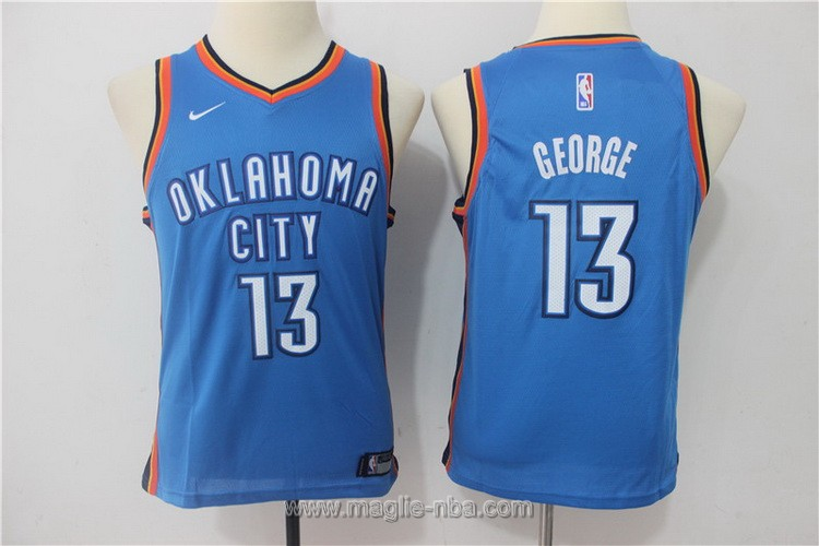 Maglie nba bambino Nike Oklahoma City Thunder Paul George #13 blu