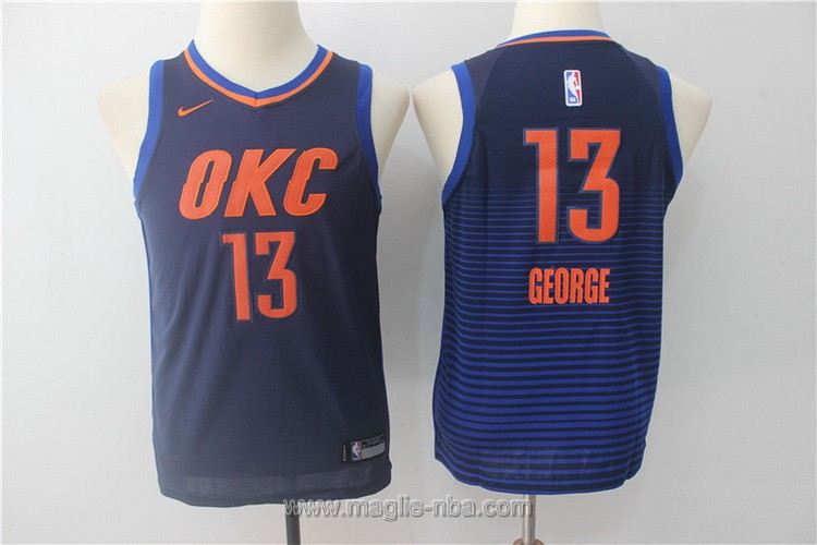 Maglie nba bambino Nike Oklahoma City Thunder Paul George #13 blu scuro
