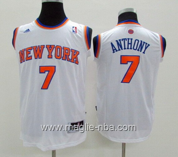 Maglie nba bambino Adidas New York Knicks Carmelo Anthony #7 bianco