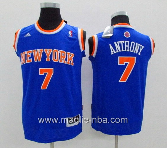 Maglie nba bambino Adidas New York Knicks Carmelo Anthony #7 blu