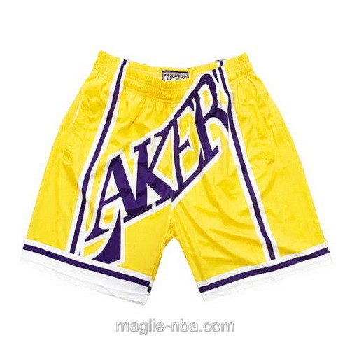 Pantaloncini basket NBA Big face giallo Los Angeles Lakers