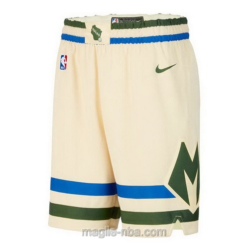 Pantaloncini basket NBA City Edition Nike color crema Milwaukee Bucks 2019-20