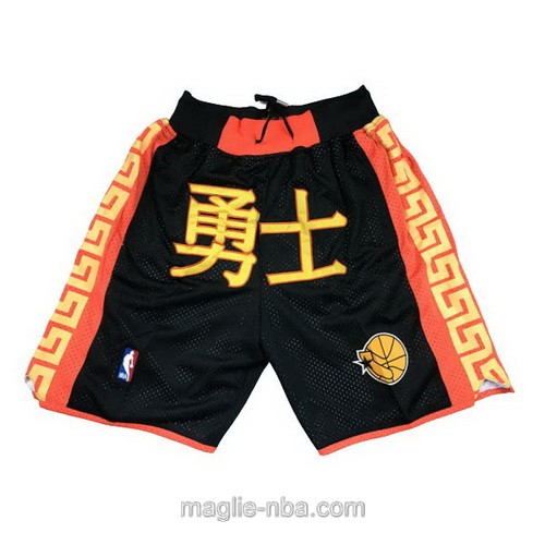 Pantaloncini basket NBA Versione cinese nero Golden state Warriors