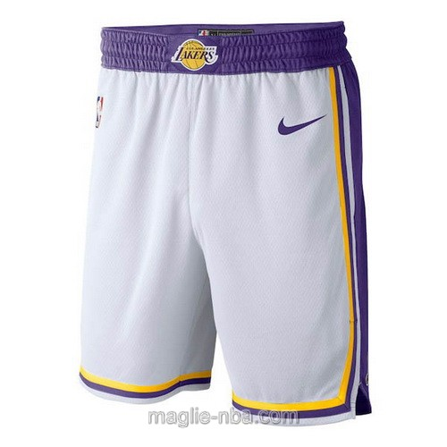 Pantaloncini basket nba retro bianco Los Angeles Lakers 2018-19