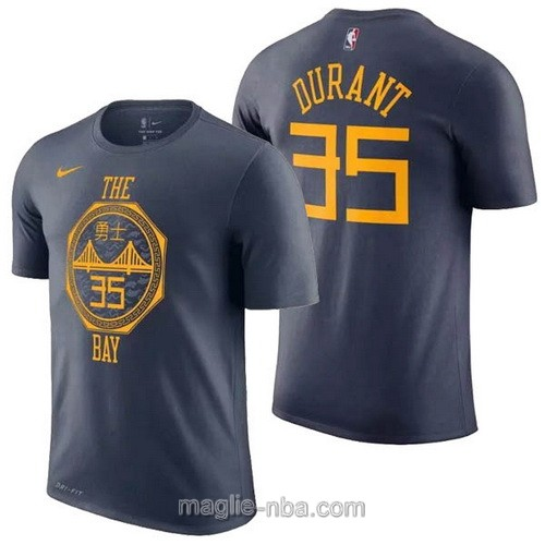 T-Shirt nba Nike blu scuro Kevin Durant #35 Golden State Warriors