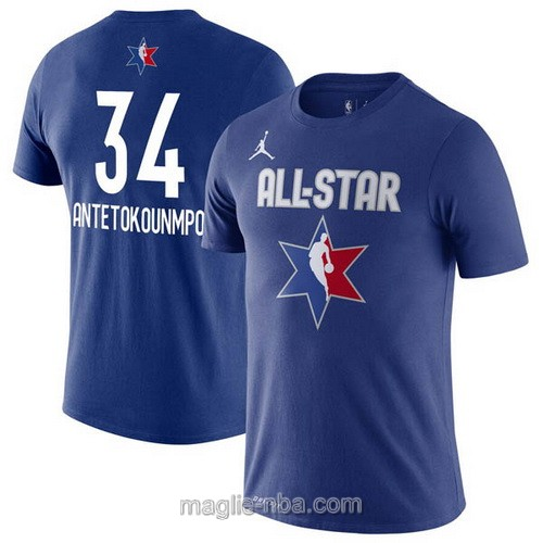 T-Shirt nba all star game 2020 #34 Giannis Antetokounmpo blu