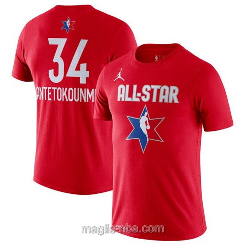T-Shirt nba all star game 2020 #34 Giannis Antetokounmpo rosso
