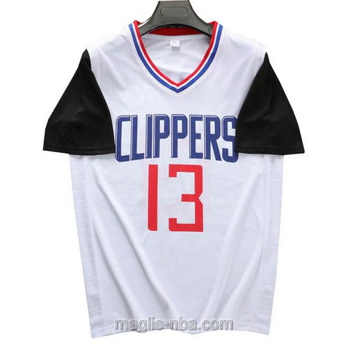 T-Shirt nba bianco nero Paul George #13 Los Angeles Clippers 2019-20