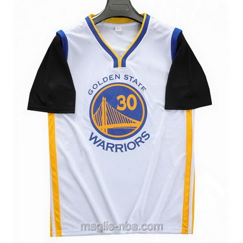 T-Shirt nba bianco nero Stephen Curry #30 Golden State Warriors 2019-20