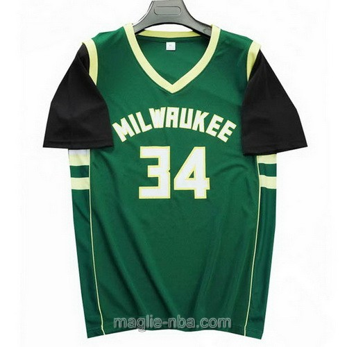 T-Shirt nba verde nero Giannis Antetokounmpo #34 Milwaukee Bucks 2019-20